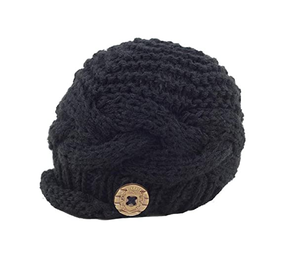 bb79dbbb890 zefen Handknit Baby Boy knit Brimmed Newborn Photography Hat Cap Small Black