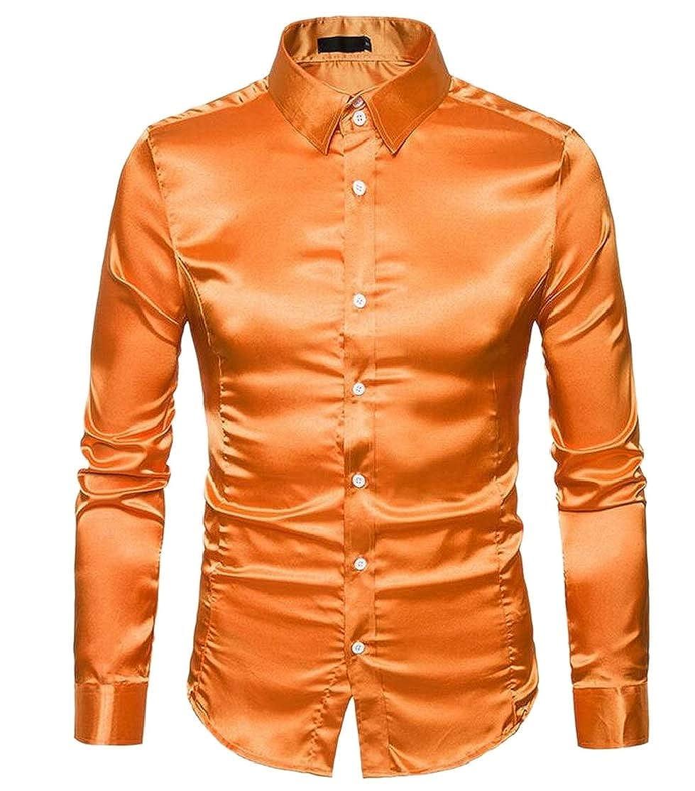 CYJ-shiba Mens Slim Fit Long-Sleeve Silk Satin Prom Button Down Shirt