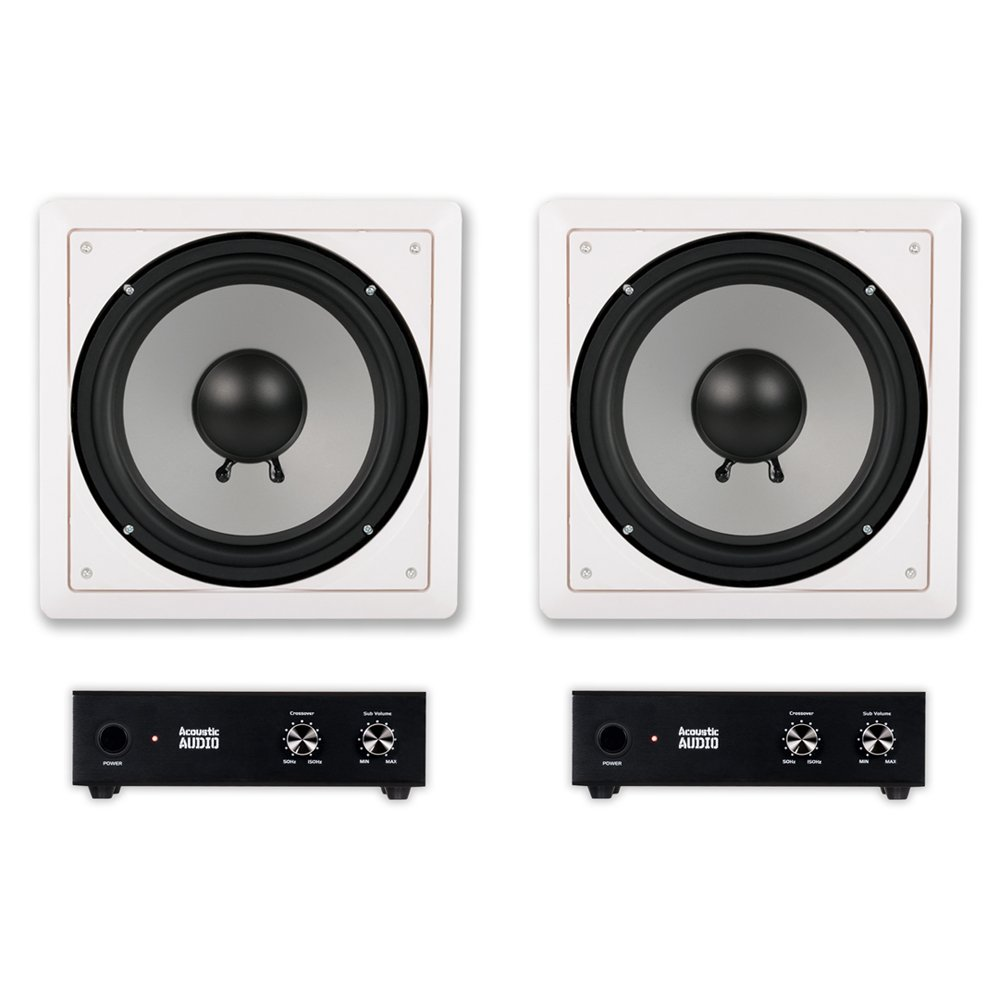 Acoustic Audio CS-IW10SUB In Wall 10'' Passive Subwoofers and Amps for Home Theater 2 Sub Set by Acoustic Audio by Goldwood