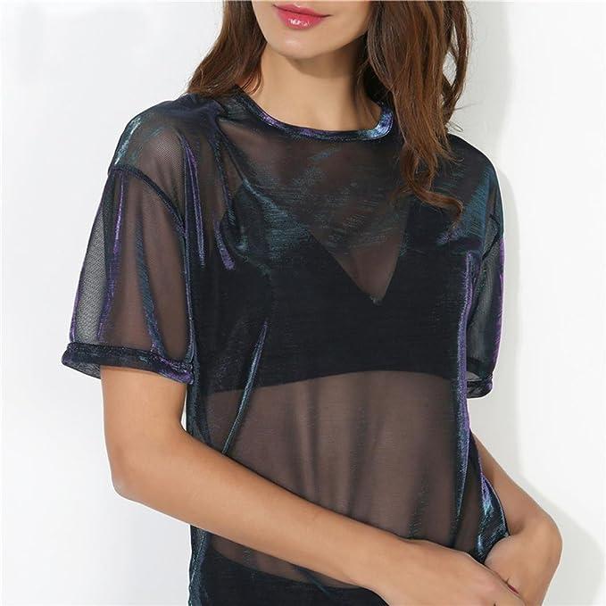 Xinantime_Blusa de mujer Camisas Mujer, ❤️Xinan Top Sexy Mujer Camiseta Manga Corta Cuello Redondo Transparente Hollow Blusa: Amazon.es: Ropa y accesorios