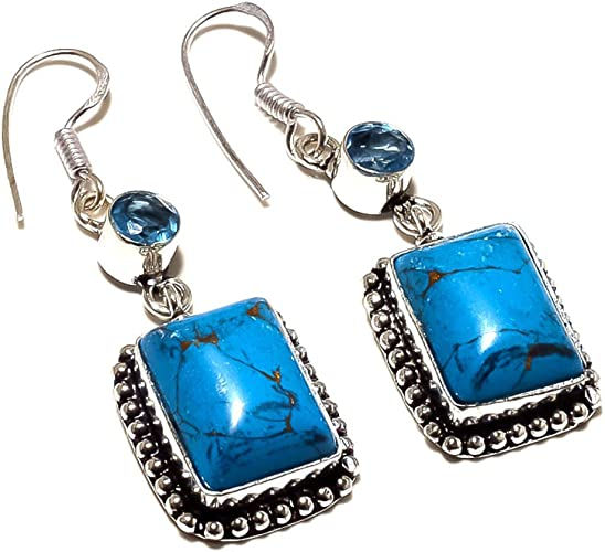 Light Weight Jewelry Blue Turquoise Sterling Silver Overlay 7 Grams Earring 1.75 Long