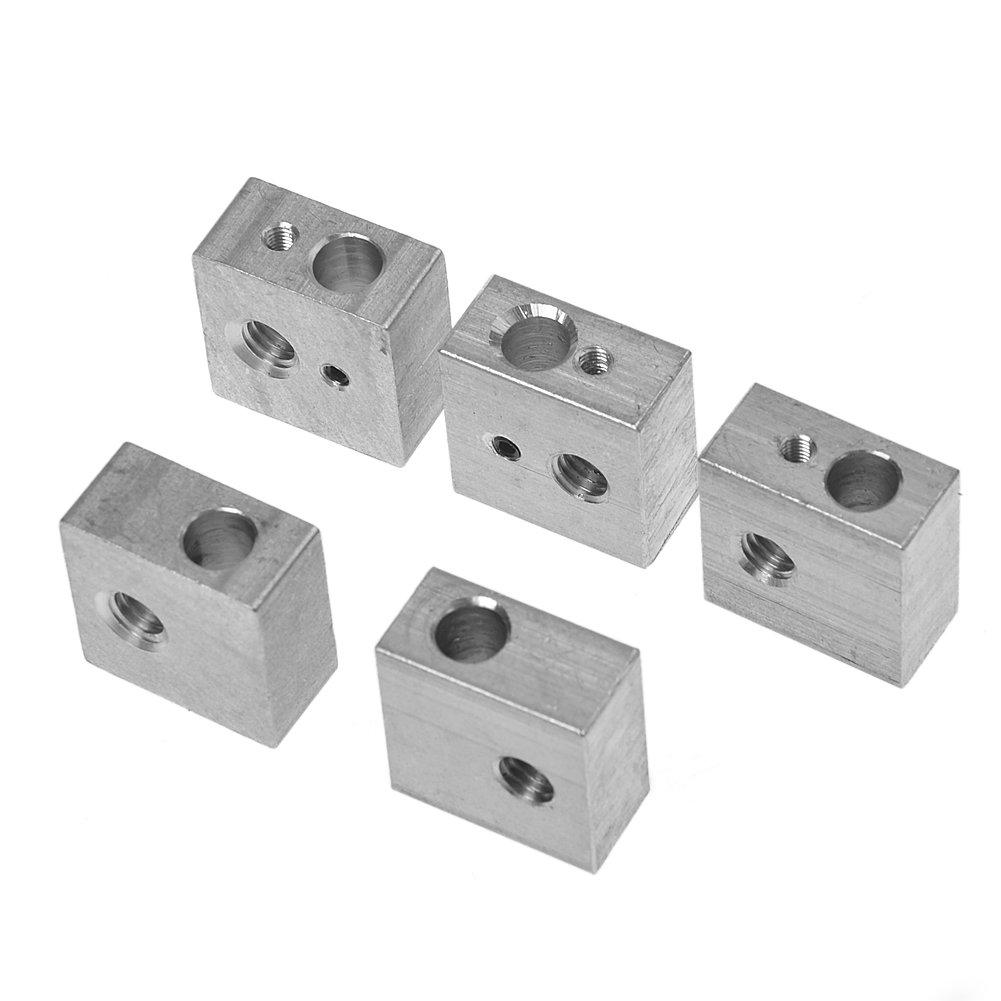Kamo 5PCS Aluminum Heater Block M6 Specialized for MK7 MK8 Makerbot 3D Printer Extruder