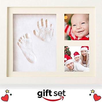Amazon.com : Baby Handprint and Footprint Photo Frame Kit | Gift Set ...