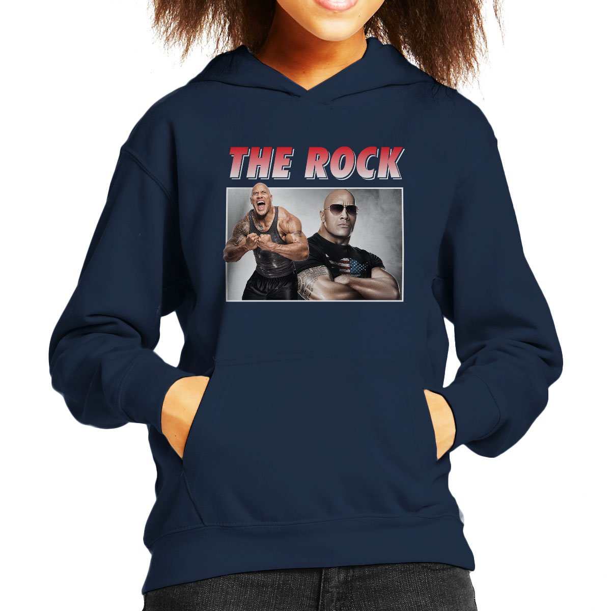 Dwayne The Rock Johnson Montage Kid's Hooded Sweatshirt by Coto7