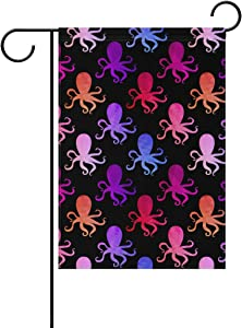 ALAZA Colorful Octopus Decorative Garden Flag 12 x 18 inch Double Sided Yard Flag