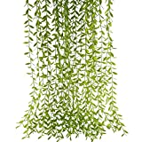 HUAESIN Artificial Willow Branches 5PCS Fake Weeping Willow Plastic Hanging Plants Greenery Garland for Indoor Outside Kitchen Bedroom Balcony Window Wall Hanging Plant Shelf Baskets