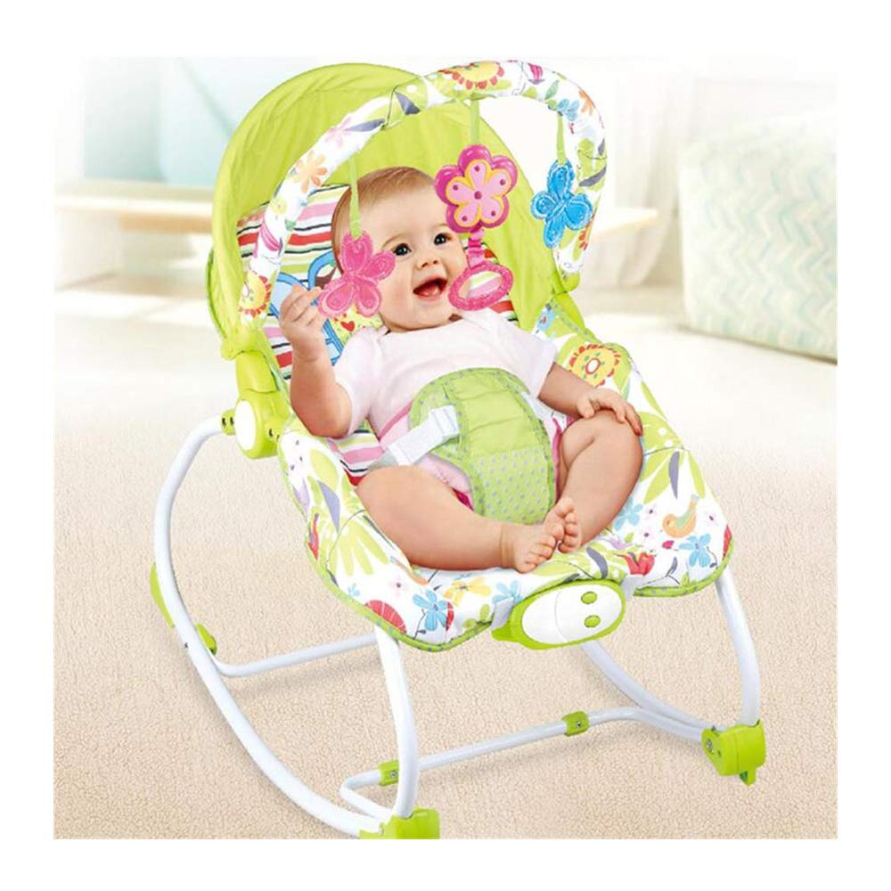 JFMBJS New-Born Bouncer, Electric Rocker Chair for Baby, with Removable Toy and Music Box Calming Vibrations, Adjustable Backrest by JFMBJS