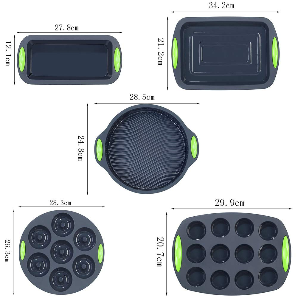 5 Pieces Silicone Bakeware Set | Food Grade FDA-Approved Silicone Molds | Round Cake Pan, Loaf Toast Bread Pan, 12 Cup Muffin Pan, 7-Cavity Donut Pan, 11x7.5-Inch Cake Tray - Baking Pans Nonstick Set by megrocle (Image #2)