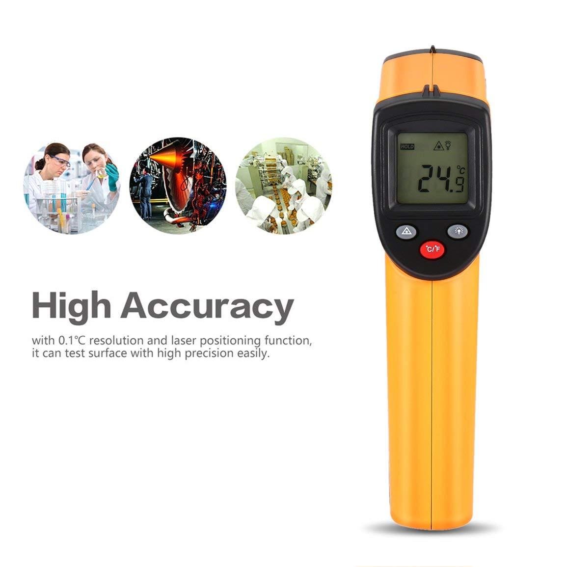 Thermom/ètre num/érique LCD sans contact infrarouge Pistolet laser infrarouge Thermom/ètre portable Pyrom/ètre couleur : jaune