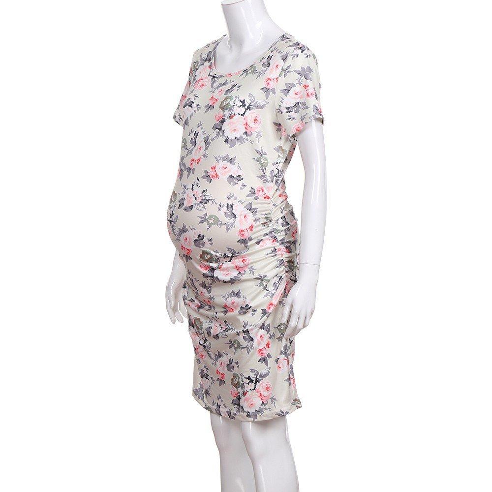 677a0f807 ALIKEEY La Mujer Es El Embarazo Vestido De Estampado Floral De Manga Corta  Vestido De Ropa Ampliar imagen