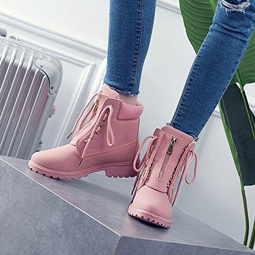 BenSorts Damen Combat Worker Winterstiefel Boots Winterschuhe Boots Stiefeletten Stiefel Damen Winter Rosa