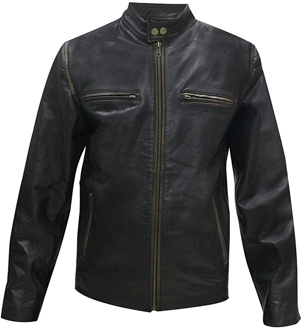 UGFashions Daddy's Home Dusty Mayron Biker Distressed Black Motorcycle Leather Jacket