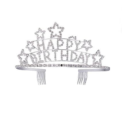Frcolor Corona de Cumpleaños De Las Princesas Cristal Cabeza ...