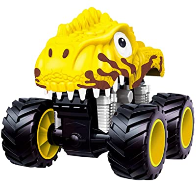 PBOX Dinosaur Monster Truck Toys,Stunt 360° Spin Friction Powered Cars for Kids,Push and Go Vehicles Toddler Toys for Aged 3-12 Year Old Boys & Girl Gift: Toys & Games