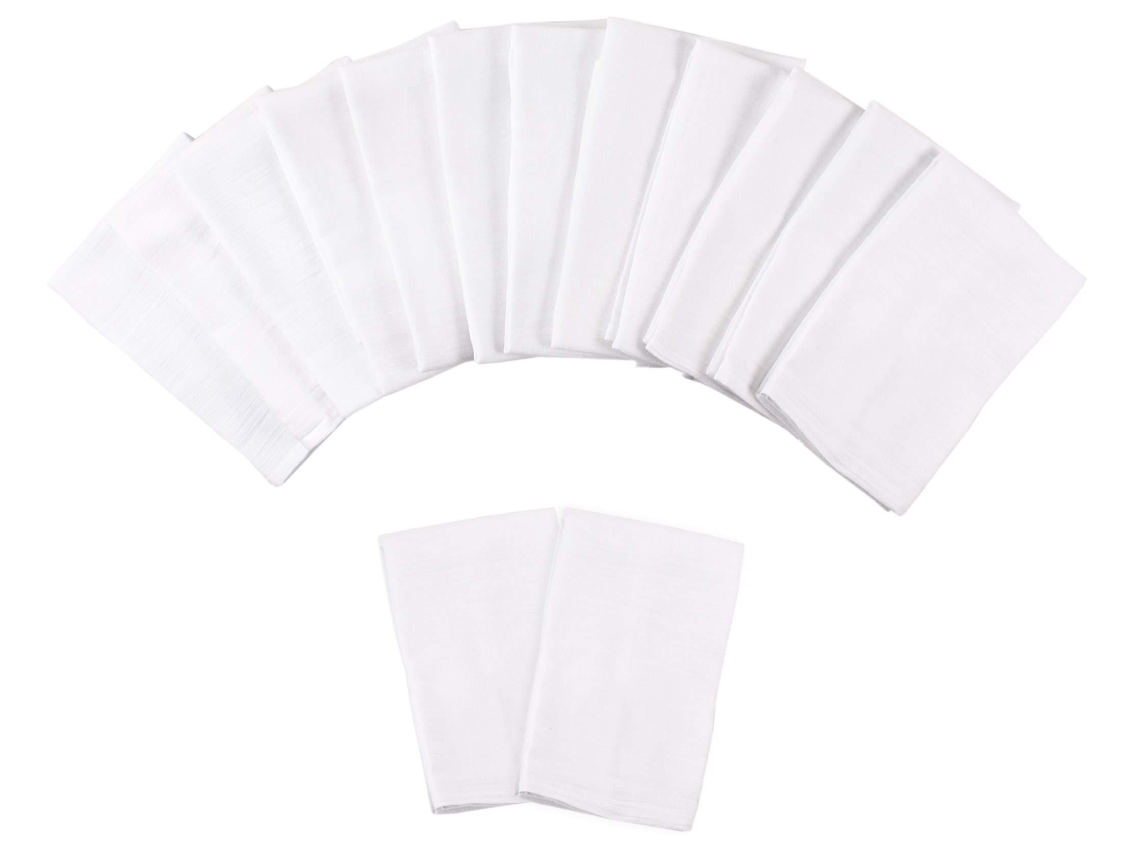 Value Basics Flour Sack Towel Set, All-Natural 100% Cotton floursack, White, 28'' x 28'', 14-Pack (2 Extra Free)