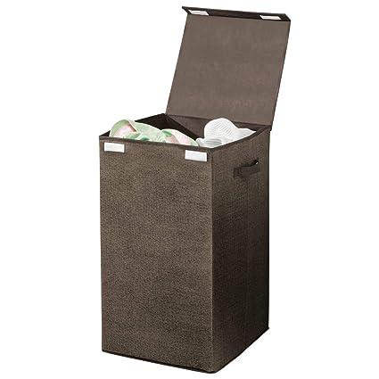 mDesign Cesto para ropa sucia en polipropileno transpirable – Cubo para colada plegable para lavadero y baño – Bolsa para guardar ropa con aspecto de ...