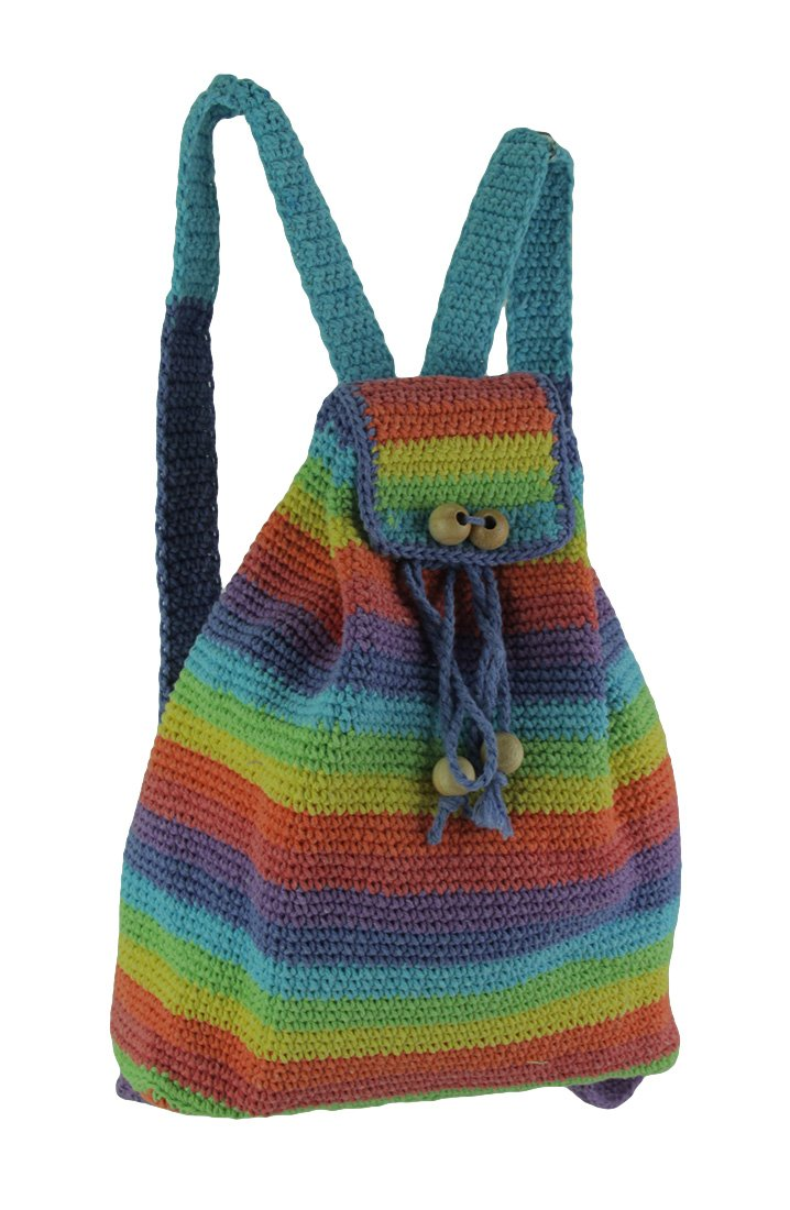 Zeckos Cotton Basic Multipurpose Backpacks Rainbow Striped Handmade Cotton Crochet Backpack 10 X 12 X 3.75 Inches Multicolored