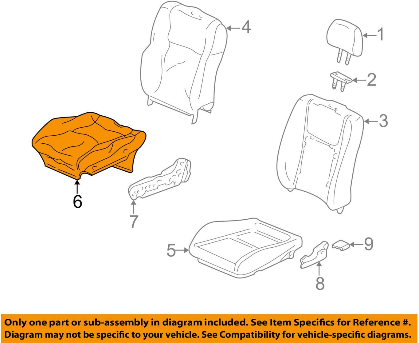 Honda Genuine 81131-S00-A02ZB Seat Cushion Trim Cover Right Front