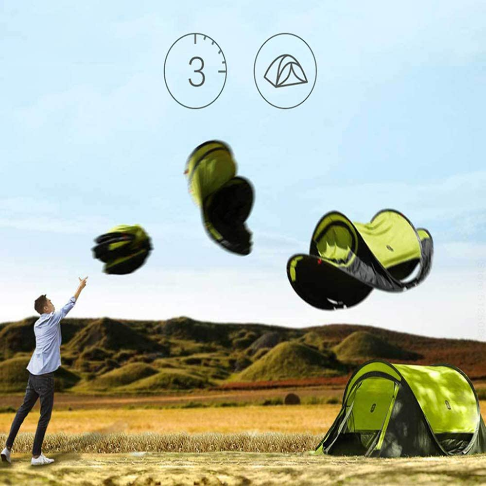 LBYLY Outdoor Multi-Person Dubbellagig Quick-Open Tent, Blauw Blauw