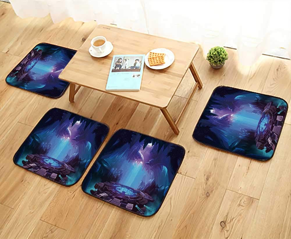 UHOO2018 Elastic Cushions Chairs Mystery Cave with Sci Fi Build. Video Game's Digital CG Artwork for Living Rooms W29.5 x L29.5/4PCS Set