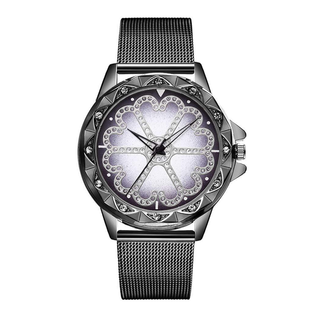 JDgoods Fashion Leisure Waterproof Wrist Watch Lucky Flower Rhinestone Flickering Quartz Watches Steel Strip Rhinestone Lady Watches (Black)
