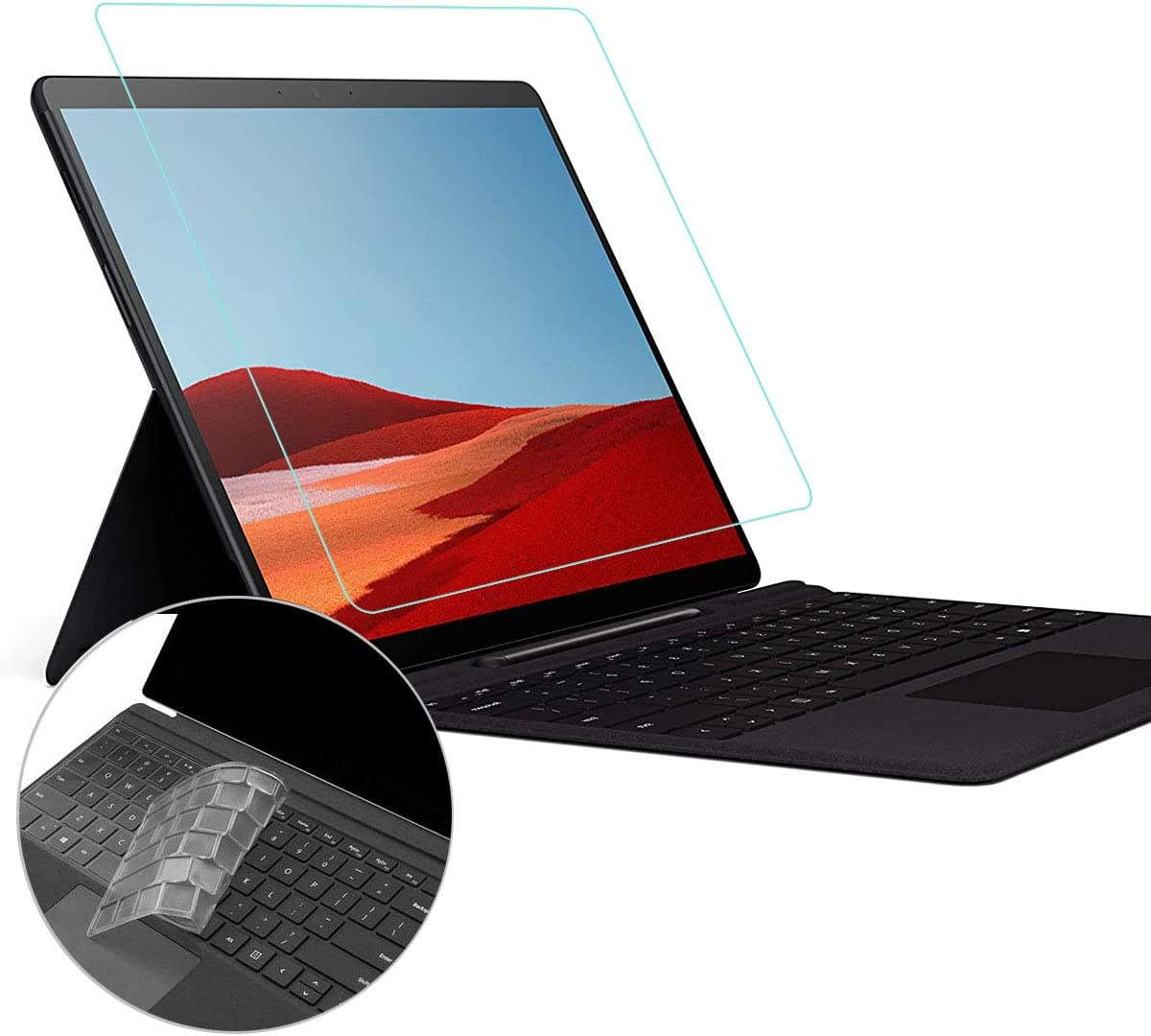 """AntiBlueLight Anti Glare Screen Protector Fit Microsoft Surface Pro 7 6/Surface Pro (5th Gen)/Surface Pro 4 12.3"""" Computer Tablet with Gift Keyboard Cover, Reduces Eye Strain Block UV and Reduce Fingerprint"""