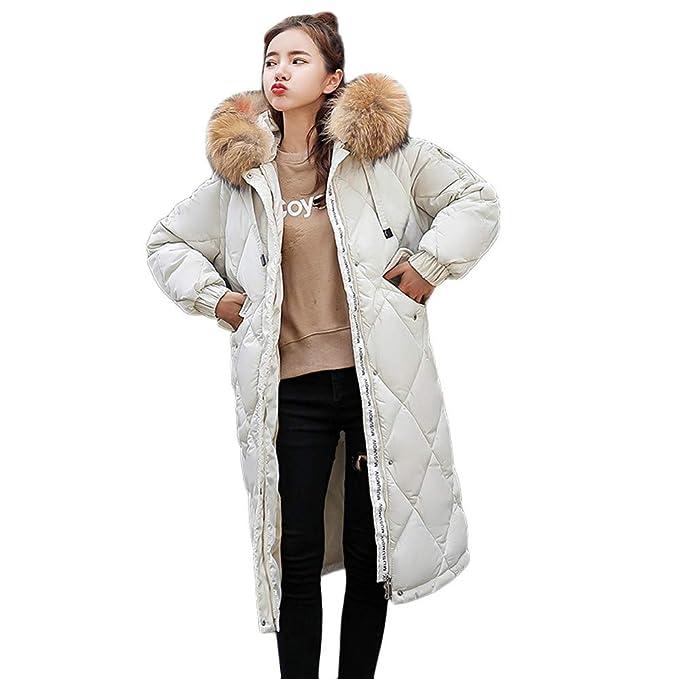 Linlink Mujer Invierno cálido Piel sintética con Capucha Gruesa cálida Delgada Chaqueta Larga Abrigo