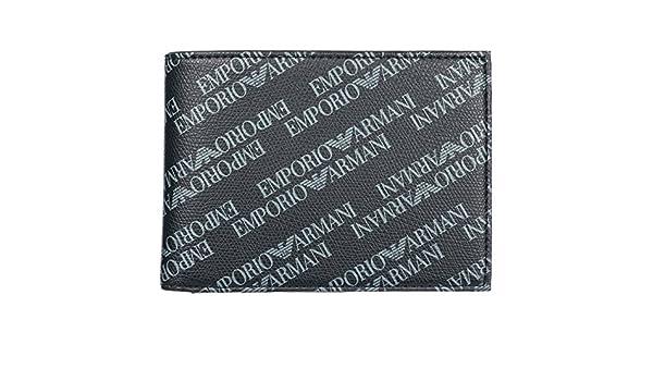Emporio Armani cartera billetera bifold de hombre en piel nuevo negro: Amazon.es: Zapatos y complementos