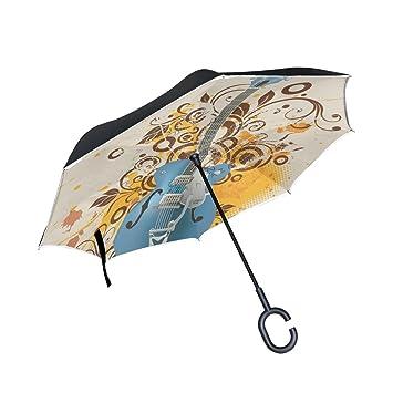 BENNIGIRY Paraguas invertido de Doble Capa para Guitarra (Plegable, Resistente al Viento, Protección