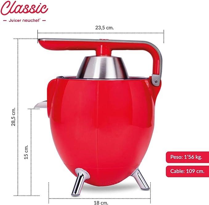 NEW CHEF - Exprimidor Zumo Eléctrico Juicer Classic Rojo para ...