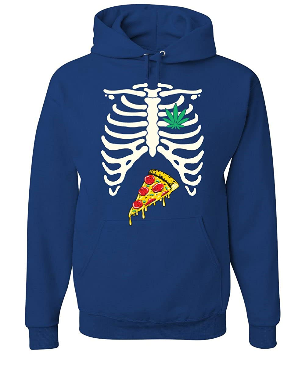 Tee Hunt Funny Skeleton Rib Cage Pizza Weed Muscle Shirt 420 Smoking