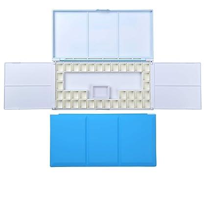 ATWORTH: estuche de acuarela de viaje con paleta de pintura plegable, plato de agua de porcelana y 36 sartenes extraíbles 23.5 x 12.0 x 1.6 cm azul
