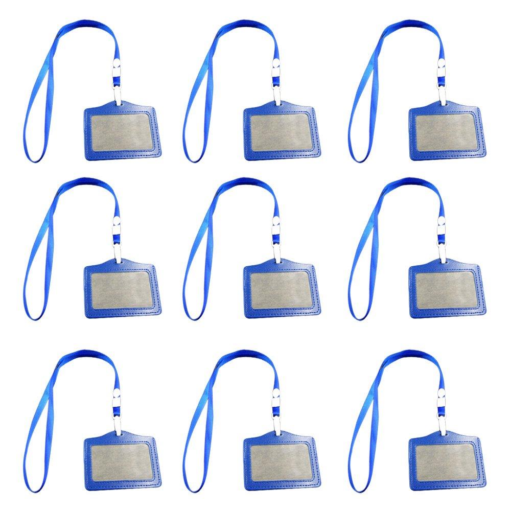 Beetest® - 10 Pezzi Portabadge, Bobine di Badge PU Pelle con Cordino per ID/Scuola/Lavoro Carte, Nero
