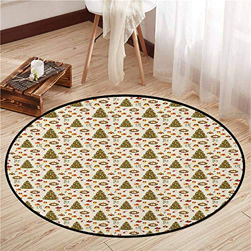 (Living Room Area Round Rugs,Christmas,New Zealand Poinsettia Flower Xmas Trees Surprise Boxes Artwork Culture,Super Absorbs Mud,3'3
