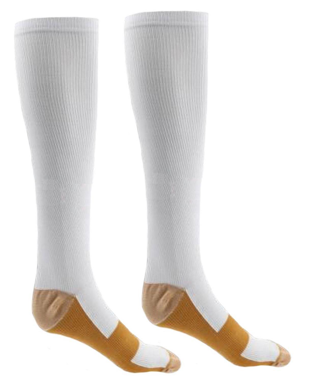 Presadee 15-20 Mmhg Medical Grade Compression Anti-fatigue Swelling Relief Energy Socks, White, Small/Medium