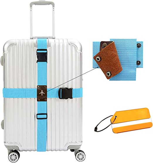 1X Adjustable Luggage Baggage Straps Belt Strong Extra Safety Travel Suitcase UK