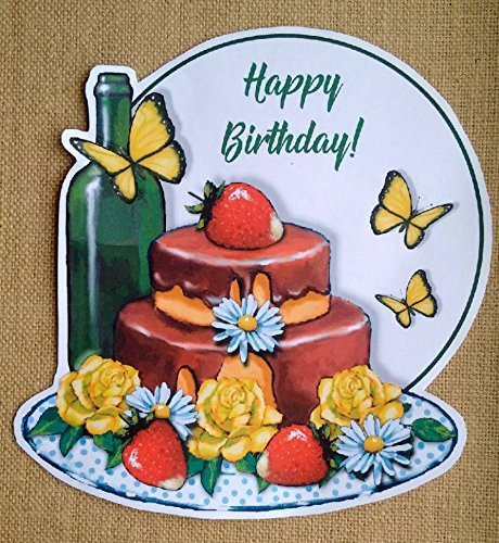 Amazon BIG Sticker For Birthday Created From Original Art Wine Bottle Cake Butterflies Strawberries Roses Removable Handmade