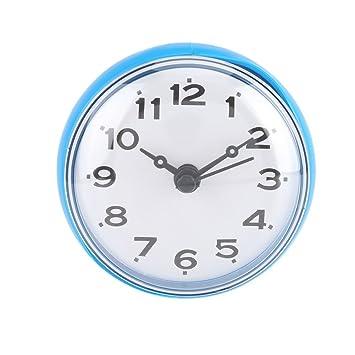 Horloge de Douche Imperméable avec Ventouse Ronde Visage Arabe Numérique  Cadran Bain Douche Horloge Salle de Bains Accessoires de Cuisine(bleu)