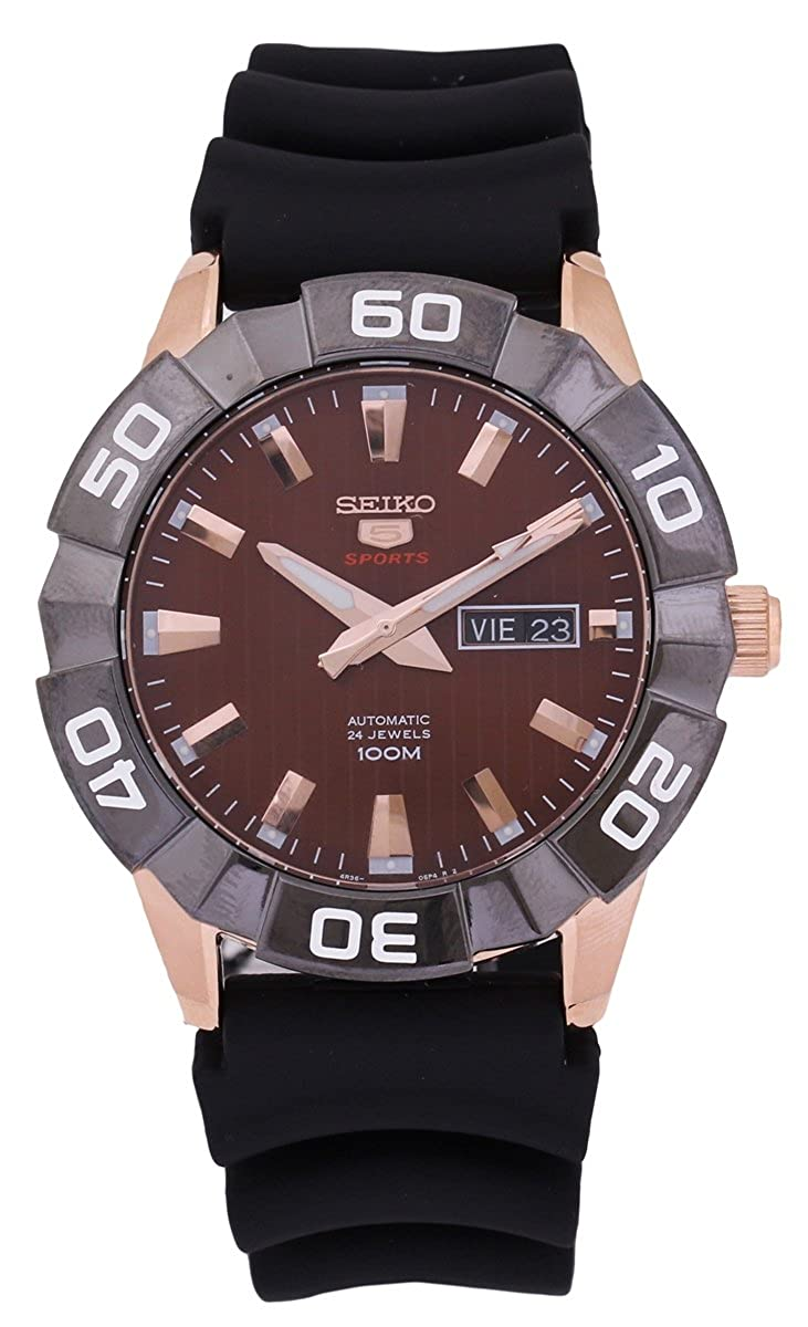 4be90fa26 Amazon.com: Seiko 5 Sports SRPA58 Men's Rose Gold Tone Brown Dial Resin  Band Automatic Watch: Watches
