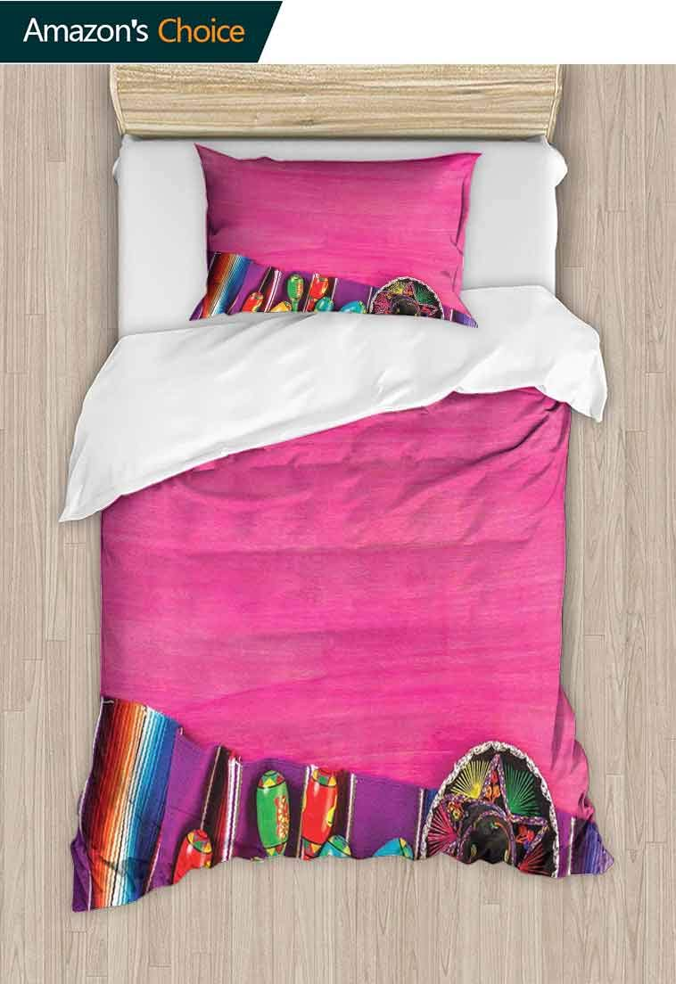 Mexican Custom Made Quilt Cover and Pillowcase Set,View of Folkloric Serape Blanket Charro and Music Instruments Cultural Elements, Print, Decorative Quilted 2 Piece Coverlet Set with 1 Pillow Shams,