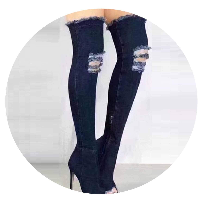 Dark bluee Women Sexy Stiletto Denim Over The Knee High Boots Zipper High Boots Women Peep Toe Pumps