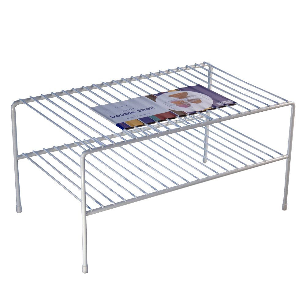 Amazon.com: Organized Living Large Double Cabinet Shelf   White: Home U0026  Kitchen