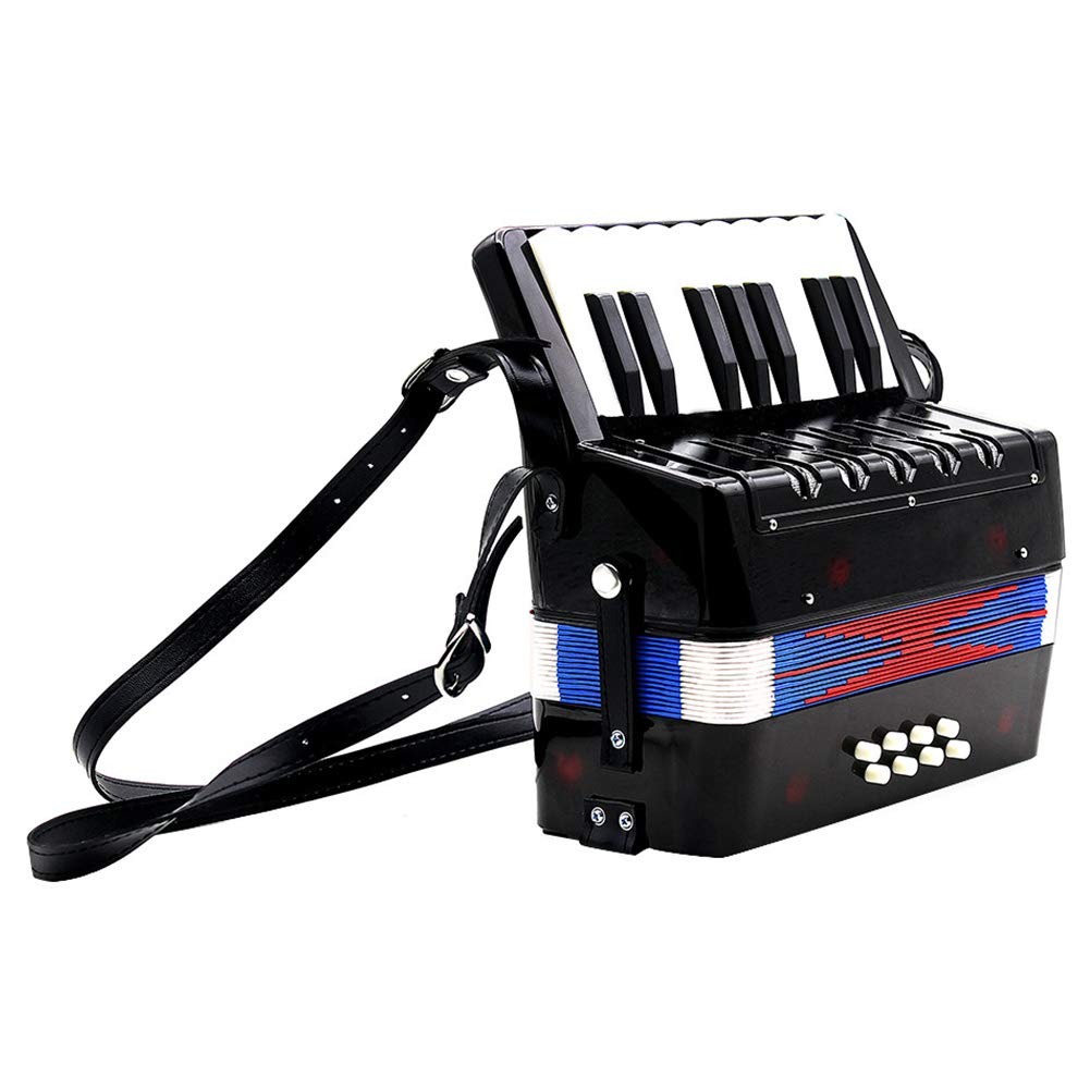 Children Accordion Instrument,Christmas Kids 17-Key 8 Bass Mini Accordion Educational Piano Percussion Accordion Musical Toy Gift(Black) by Alomejor (Image #7)