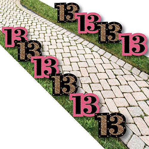 (Chic 13th Birthday - Pink, Black and Gold Lawn Decorations - Outdoor Birthday Party Yard Decorations - 10 Piece)