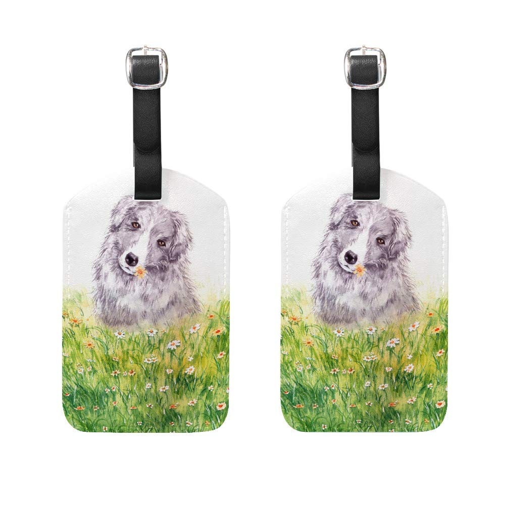 1pcs Luggage Tags PU Leather Tags Suitcase Labels Travel Bag With Privacy Cover Cute Gray Dog Flower Field Green Creative Pattern Printing