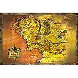 Close Up Póster El Señor de los Anillos Mapa de la Tierra Media ...