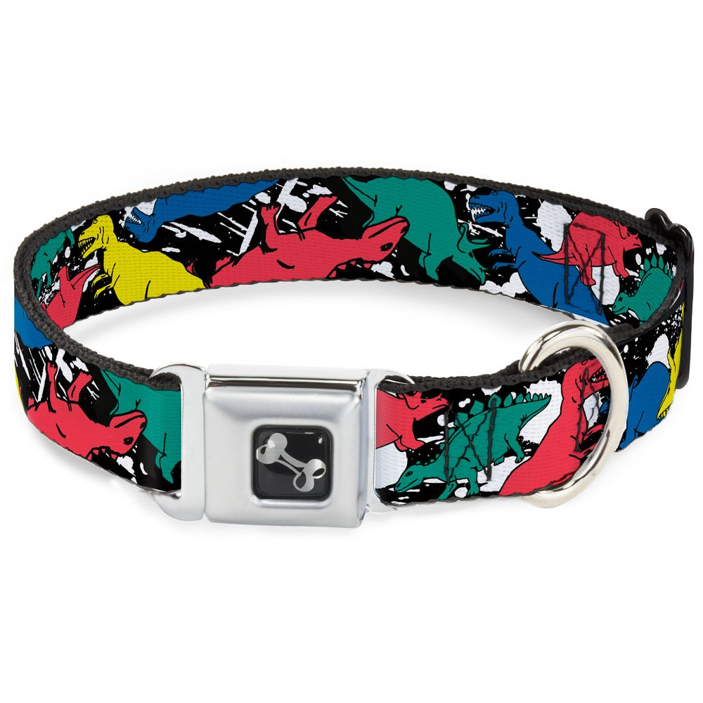 Buckle-Down Seatbelt Buckle Dog Collar Dinosaurs Paint Splatter Black White Multi color 1  Wide Fits 9-15  Neck Small