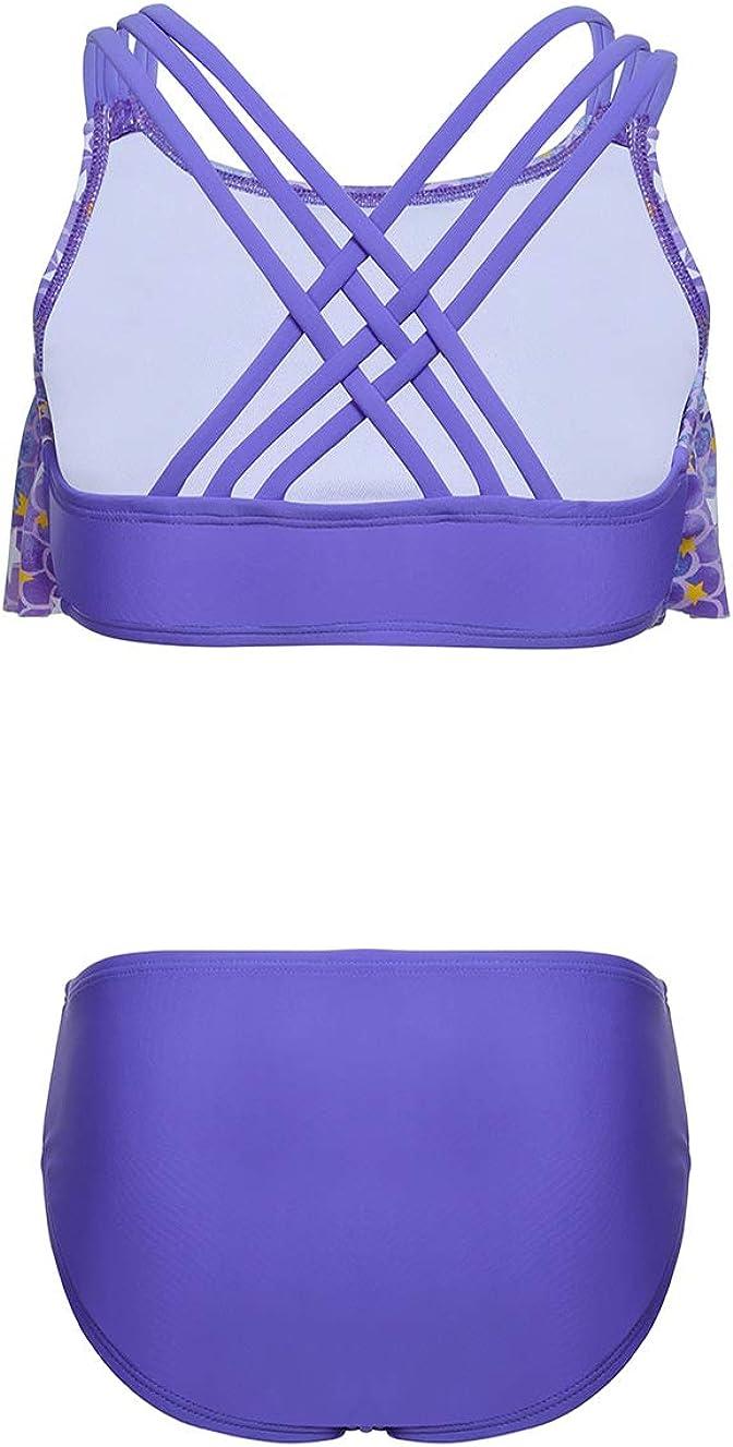 Unique Crossback Knot Strap LEINASEN Kids Two Piece Bathing Suit for Little//Big Girls