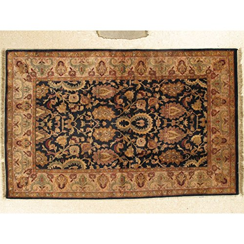 Oriental Hand Knotted 6' X 9' Wool Savonnerie Rug Floral Black Carpet
