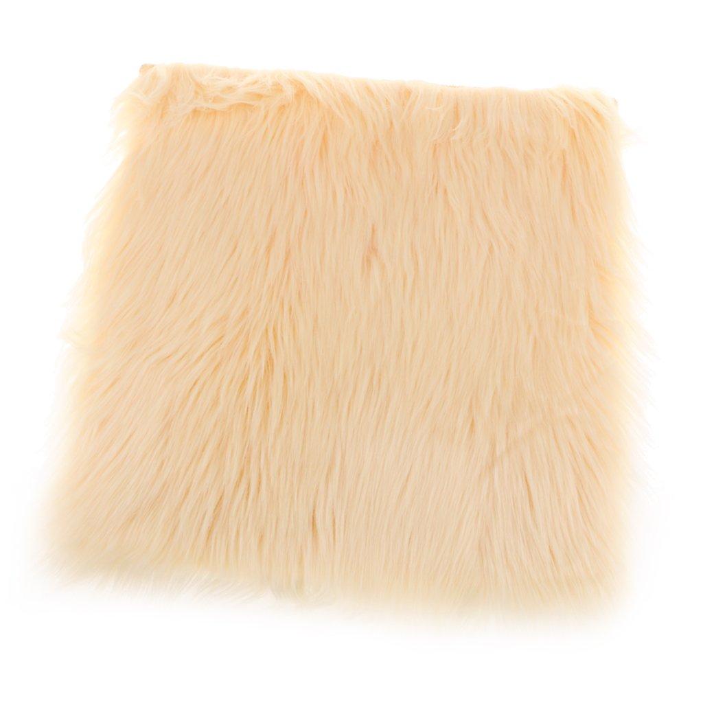 Baoblaze 2inch Furry 40x40cm Sheepskin Super Sink-in Floor Mat Rug Carpet Seat Cushion - Beige